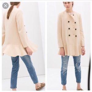 Zara peach double breasted peplum coat